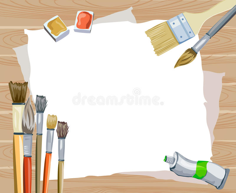 Fondo de madera creativo con los cepillos stock de ilustración