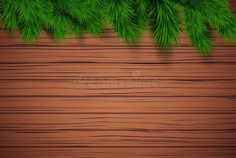 Fondo de madera de la Navidad stock de ilustración