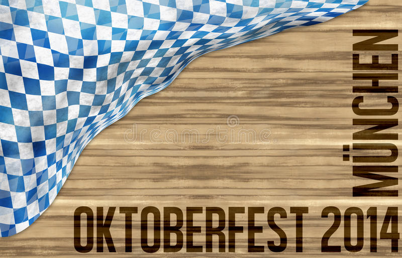 Fondo de madera del diseño de la bandera de Oktoberfest de Baviera ilustración del vector