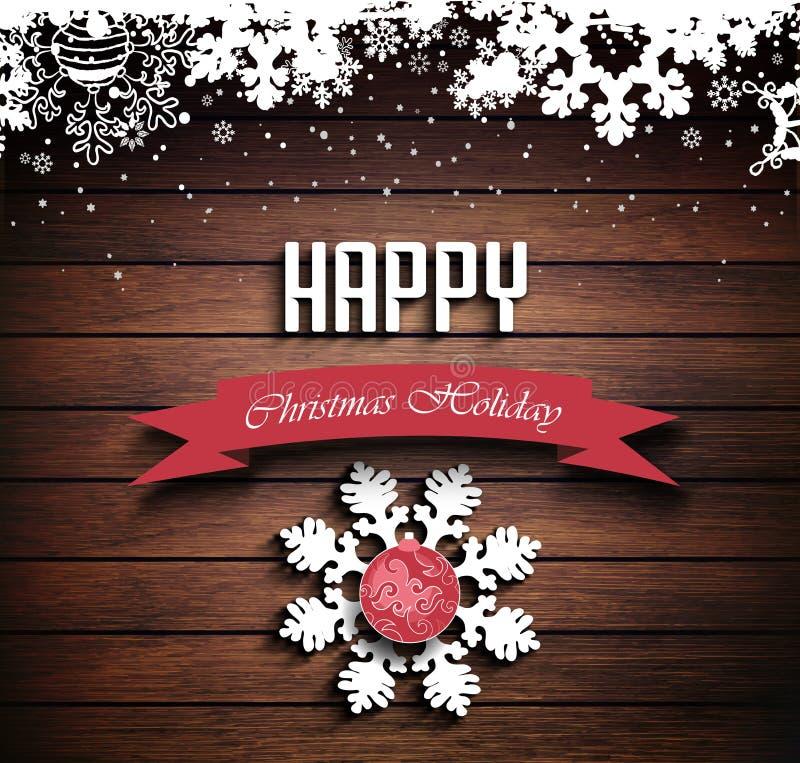Fondo de madera del invierno del día de fiesta de la Navidad stock de ilustración