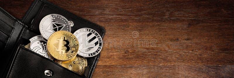 Fondo de madera del panorama de la cartera Crypto de la moneda fotos de archivo libres de regalías