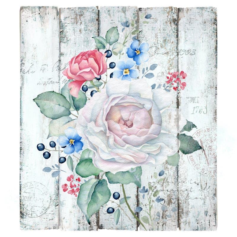 Fondo de madera del vintage con el ramo de las rosas ilustración del vector