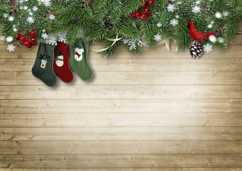 Fondo de madera del vintage con las ramas del abeto y el calcetín de la Navidad C fotografía de archivo