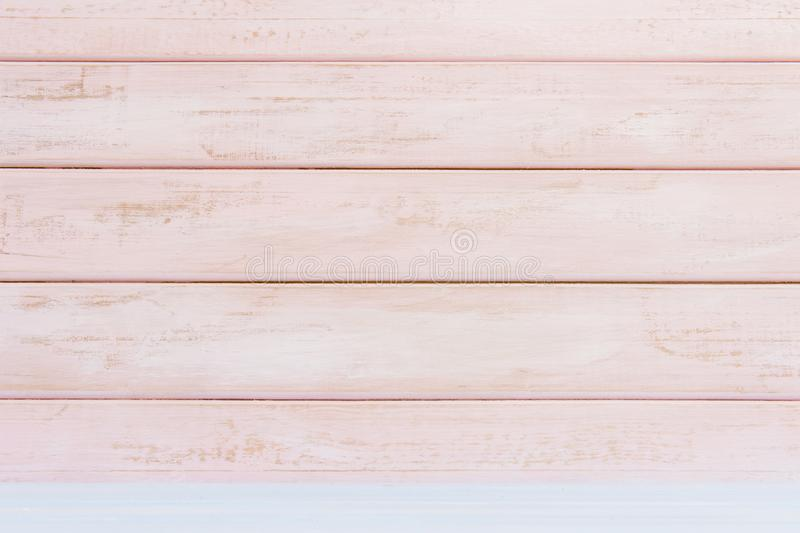 Fondo de madera en colores pastel de la pared del rosa Endecha plana imagen de archivo