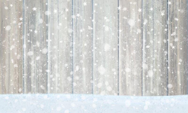 Fondo de madera gris del vector para el diseño de la Navidad ilustración del vector