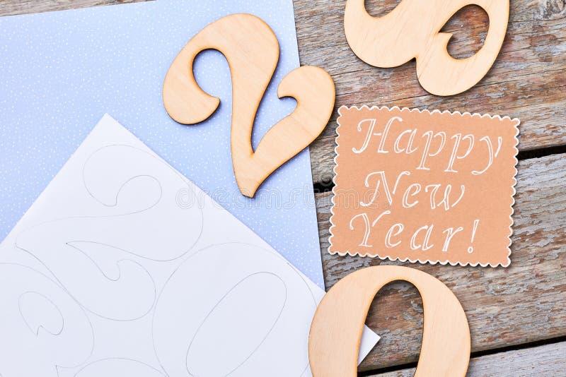Fondo de madera de la Feliz Año Nuevo imagen de archivo libre de regalías