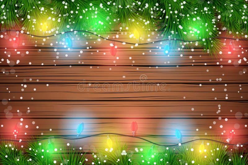 Fondo de madera de la Navidad ilustración del vector