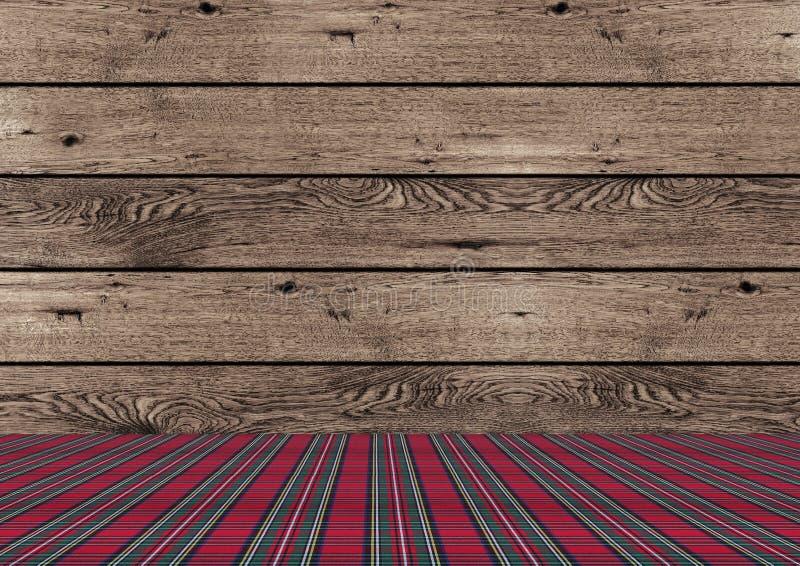 Fondo de madera de la Navidad del tradional rústico con la tierra roja y verde del modelo de la tela escocesa fotos de archivo