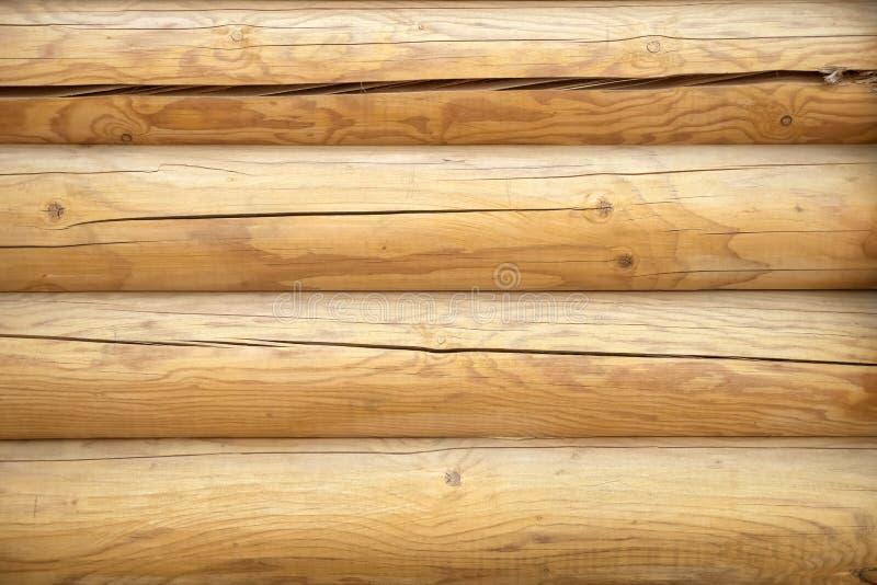 Fondo de madera de la pared del registro Pared de madera del fondo de la textura del blocao imagen de archivo