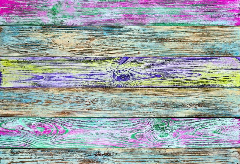 Fondo de madera de los tablones del viejo grunge multicolor imágenes de archivo libres de regalías