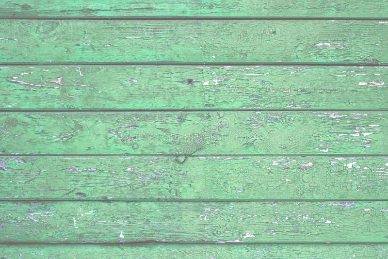 Fondo de madera natural Viejo pintó en tableros verdes fotografía de archivo