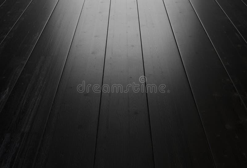 Fondo de madera negro con la iluminación de la ventana ilustración del vector