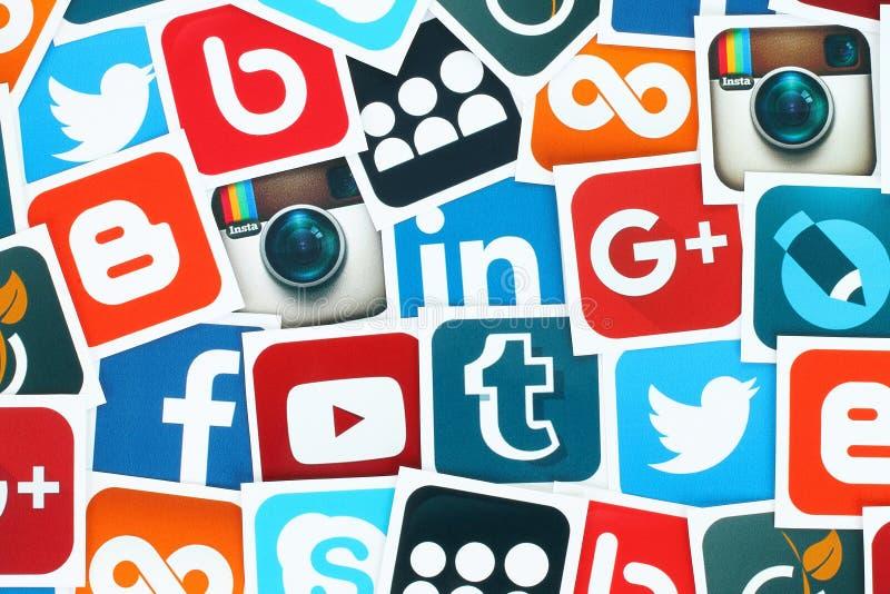 Fondo de medios iconos sociales famosos libre illustration
