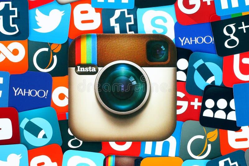 Fondo de medios iconos sociales famosos con Instagram imagen de archivo libre de regalías