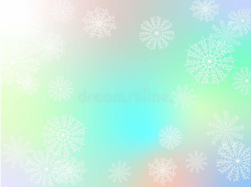 Fondo de Navidad Colección Snowflakes Vacaciones estacionales Patrón de Navidad vectorial Hermosa pancarta azul con copos de niev stock de ilustración