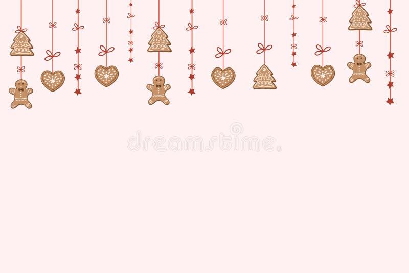 Fondo de Navidad con galletas de pan de jengibre, hombres y estrellas de pan de jengibre Diseño festivo de Año Nuevo libre illustration