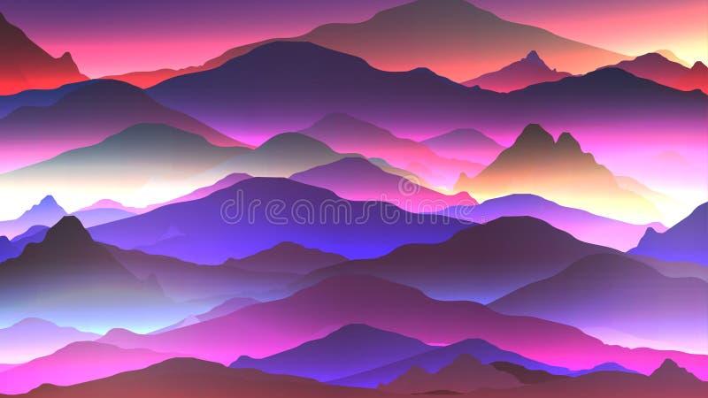 Fondo de neón abstracto de la montaña - ejemplo del vector ilustración del vector