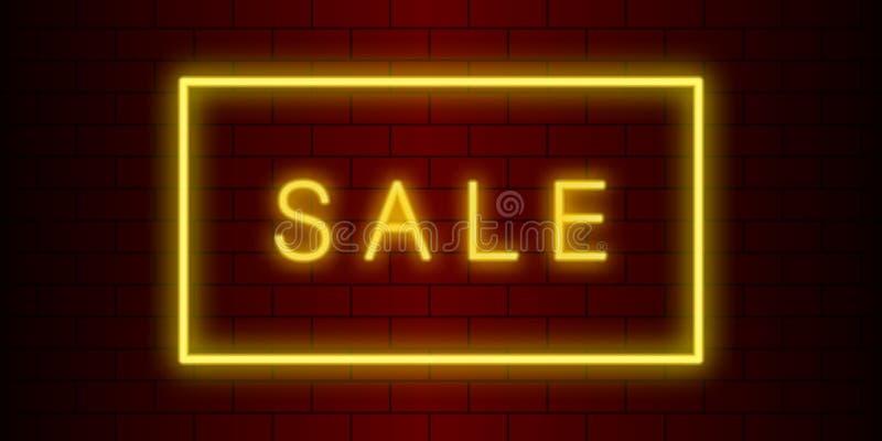 fondo de neón amarillo rojo de la venta del ladrillo stock de ilustración