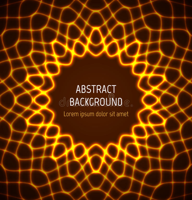 Fondo de neón de la frontera del círculo anaranjado abstracto con efectos luminosos ilustración del vector