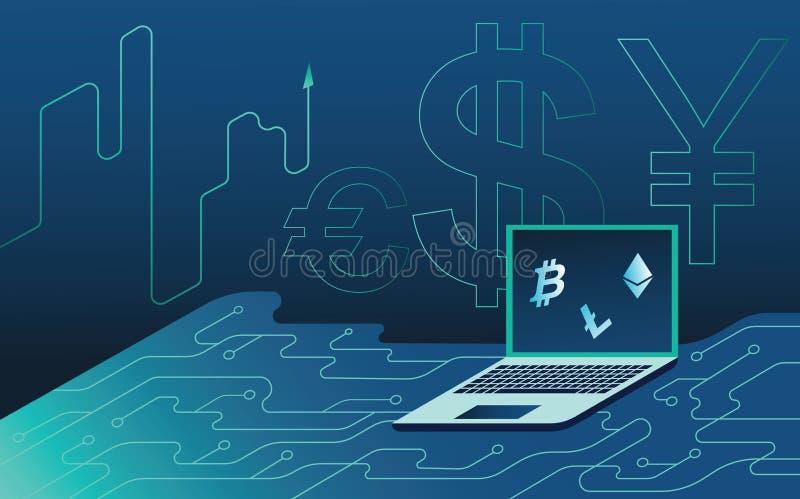 Fondo de neón isométrico El bitcoin y la moneda crypto, sitio de la granja del servidor de la explotación minera, ordenador portá stock de ilustración