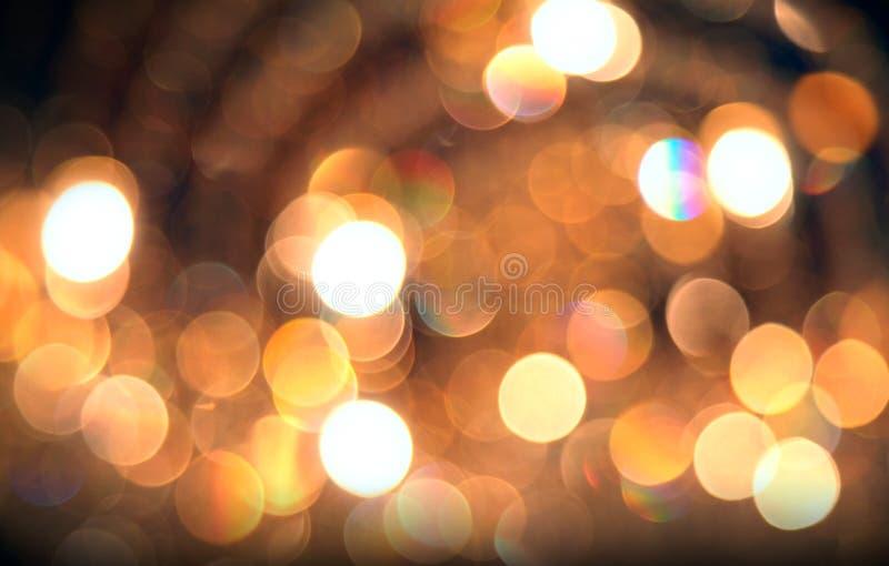 Fondo de oro abstracto Defocused de las luces imágenes de archivo libres de regalías