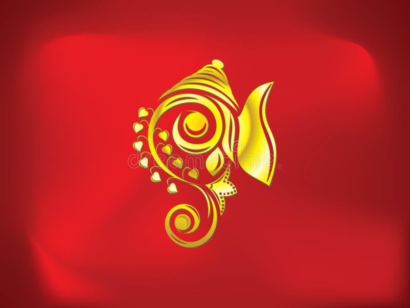 Fondo de oro artístico abstracto del ganesha stock de ilustración