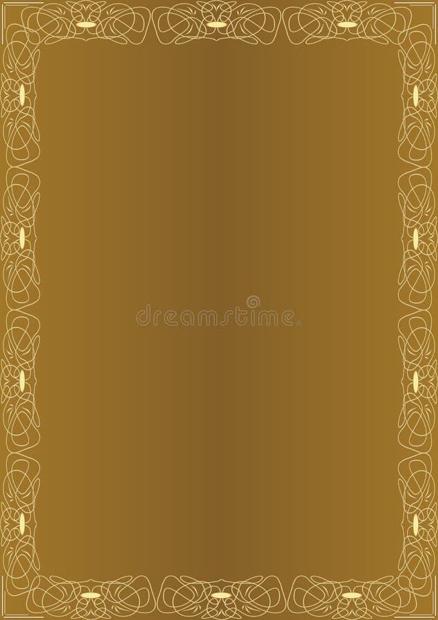 Fondo de oro asombroso elegante con el marco grabado en relieve de oro en estilo del art déco Plantilla de lujo, diseño de docume ilustración del vector
