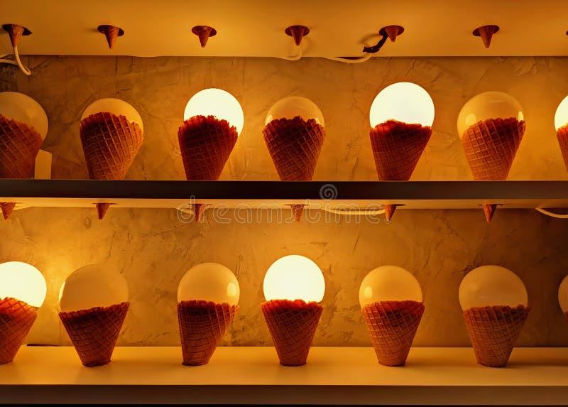 Fondo de oro de bombillas iluminadas en maqueta del cono de helado fotografía de archivo