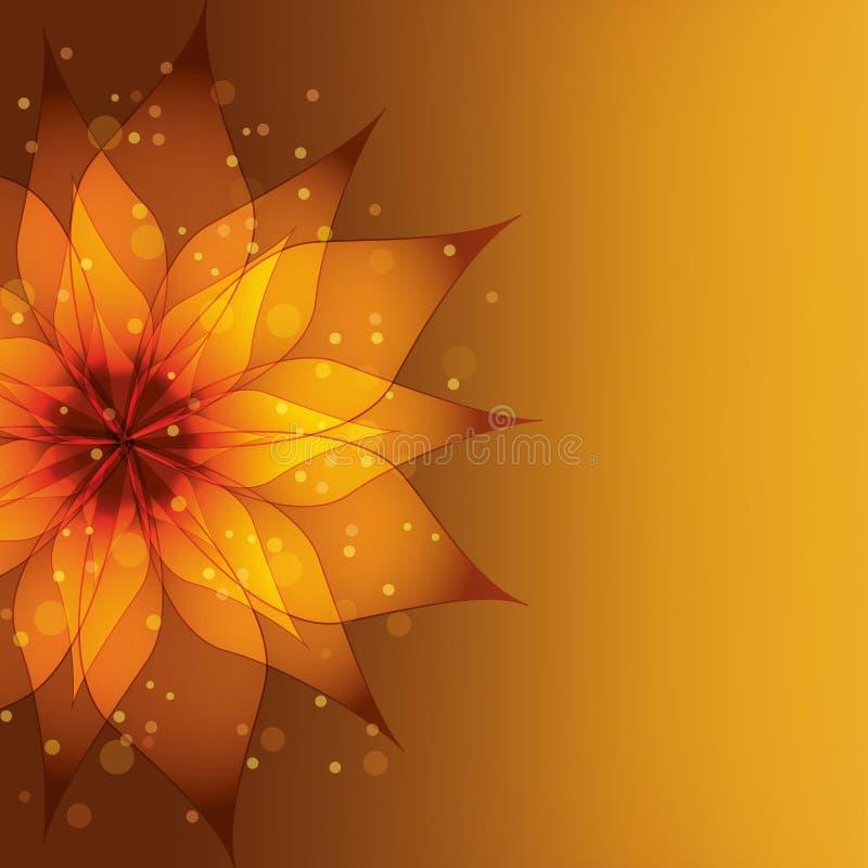 Fondo de oro con la flor decorativa ilustración del vector