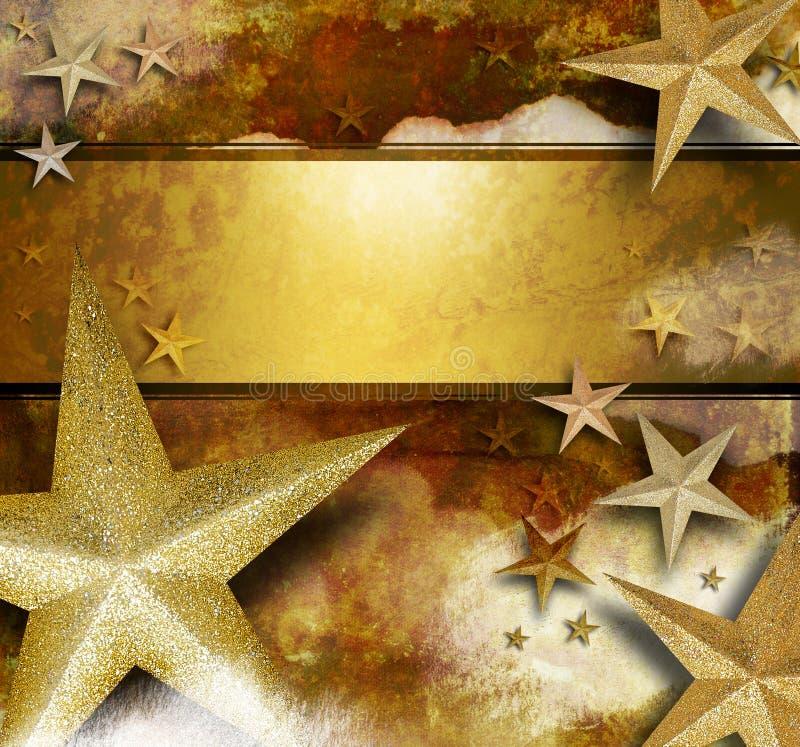 Fondo de oro de la estrella de la chispa stock de ilustración