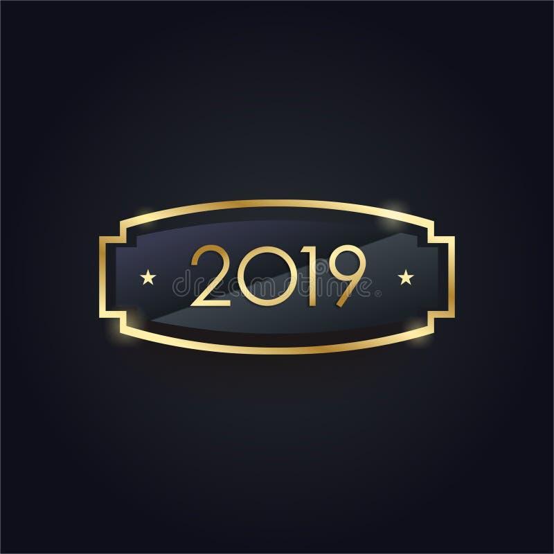 Fondo de oro del Año Nuevo 2019 ilustración del vector