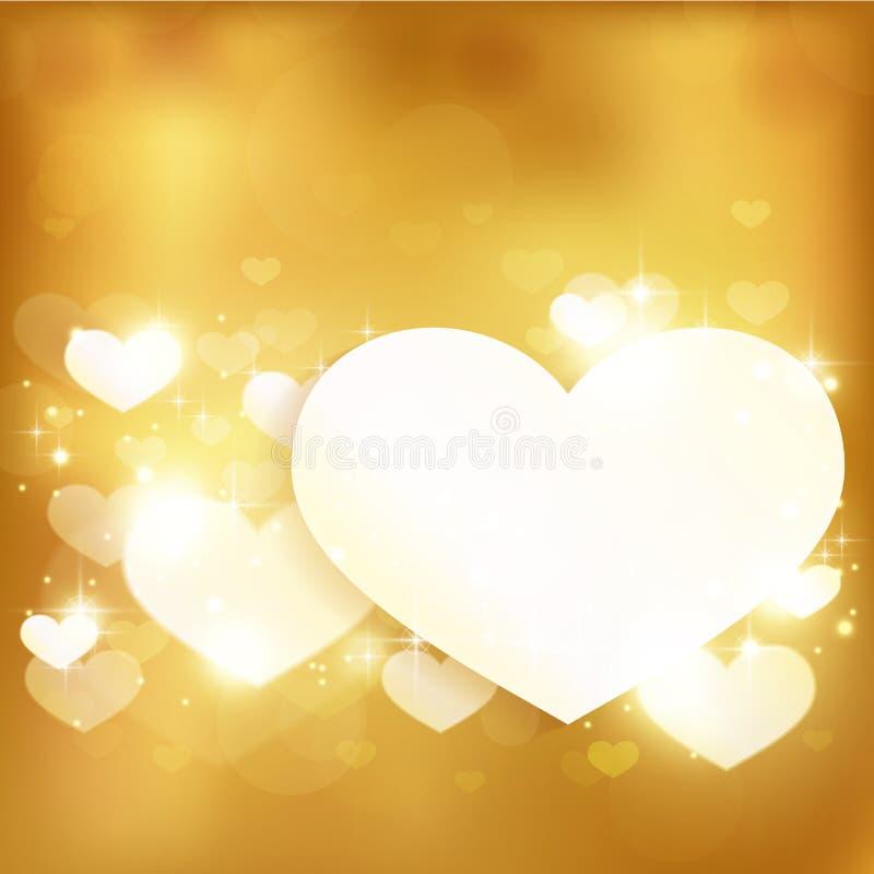 Fondo de oro del corazón del amor que brilla intensamente con las luces y las estrellas ilustración del vector