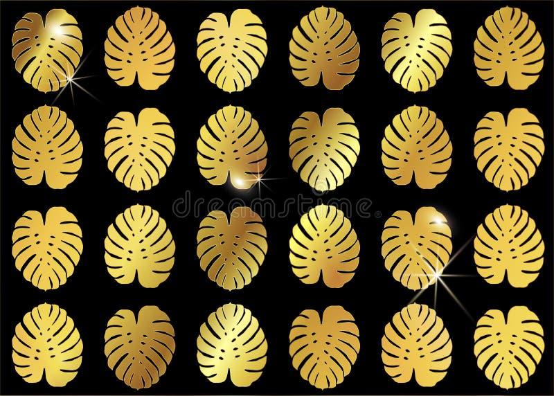Fondo de oro del diseño de la moda de Monstera Modelo inconsútil del vector con las hojas tropicales del oro Monstera brillante d stock de ilustración