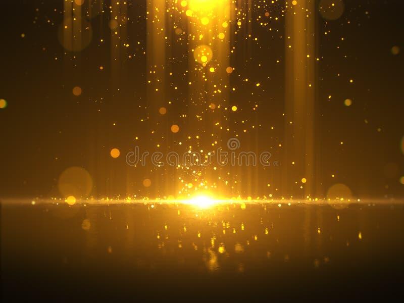Fondo de oro del extracto del encanto del bokeh ilustración del vector