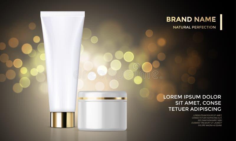 Fondo de oro del paquete de la publicidad del vector de la plantilla de piel de la crema cosmética del cuidado ilustración del vector