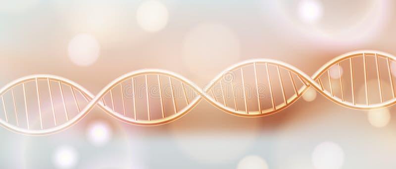 Fondo de oro del vector de la estructura de la DNA Concepto de lujo de los cosm?ticos del cuidado de piel de la belleza Estructur libre illustration