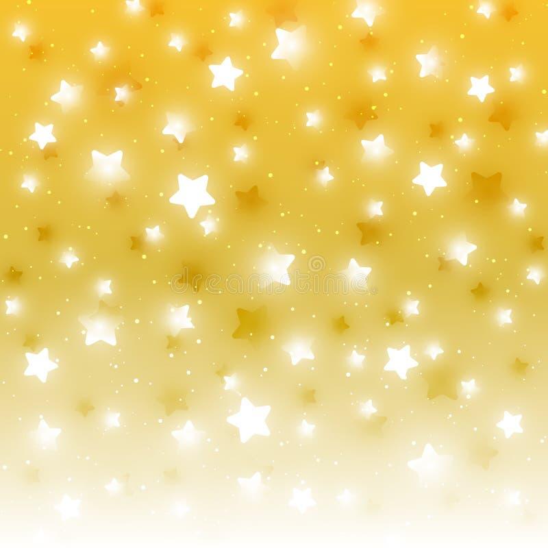 Fondo de oro estrellado del bokeh ilustración del vector