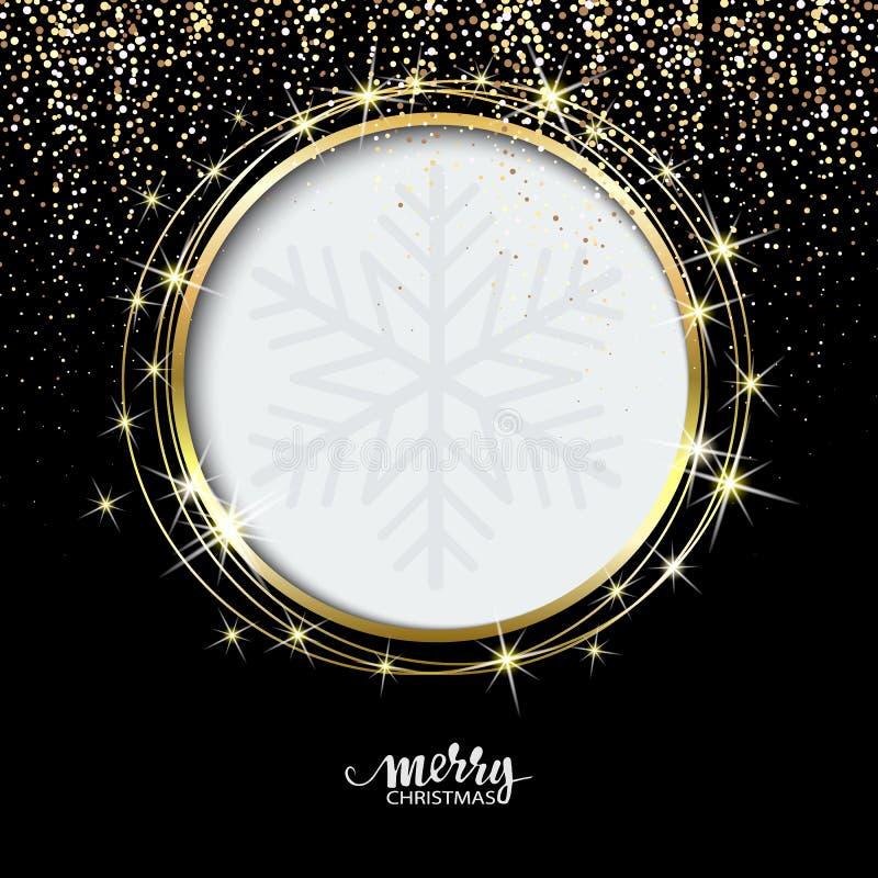 Fondo de oro festivo de la chispa Frontera del brillo, marco del círculo Negro y polvo del vector del oro grande para la Navidad  ilustración del vector