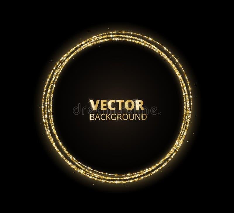 Fondo de oro de la chispa, marco del círculo del brillo Negro y polvo del vector del oro stock de ilustración
