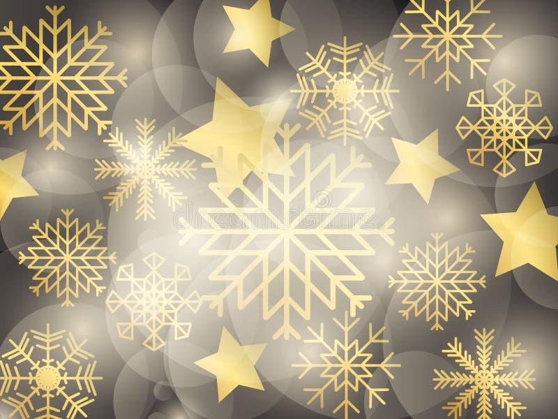 Fondo de oro de la Navidad con los copos de nieve, las estrellas y las luces Efecto de Bokeh Plantilla del diseño de la tarjeta d libre illustration