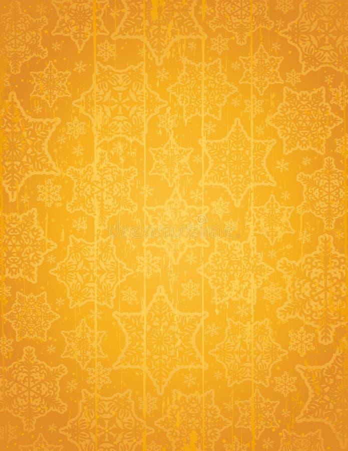 Fondo de oro de la Navidad con los copos de nieve y las estrellas, ejemplo del vector libre illustration