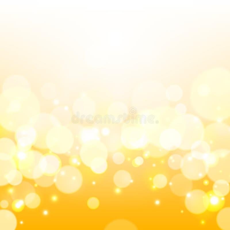 Fondo de oro de las luces Fondo amarillo del vector del brillo stock de ilustración