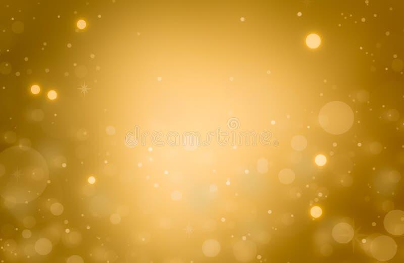 Fondo de oro que brilla intensamente de la Navidad Luces de la Navidad Oro Holi stock de ilustración