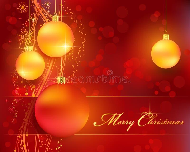 Fondo de oro rojo del bokeh de la Navidad con las chucherías ilustración del vector