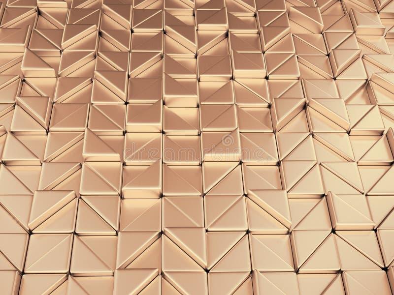 fondo de oro rosado geométrico del extracto del illustrtion 3d stock de ilustración