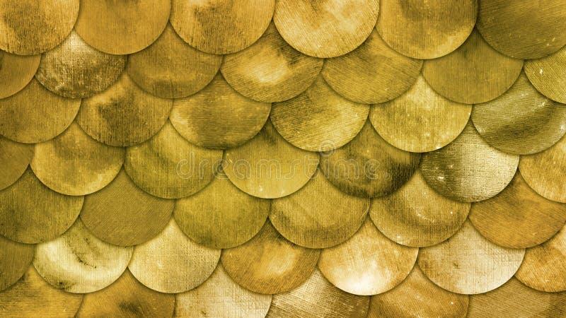 Fondo de oro de Squame de los pescados de la acuarela de las escalas de la sirena mágica Modelo de latón del verano brillante con ilustración del vector