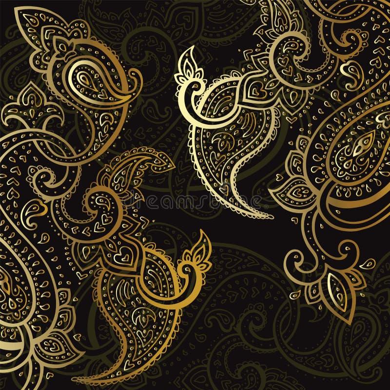 fondo de Paisley Ornamento drenado mano stock de ilustración