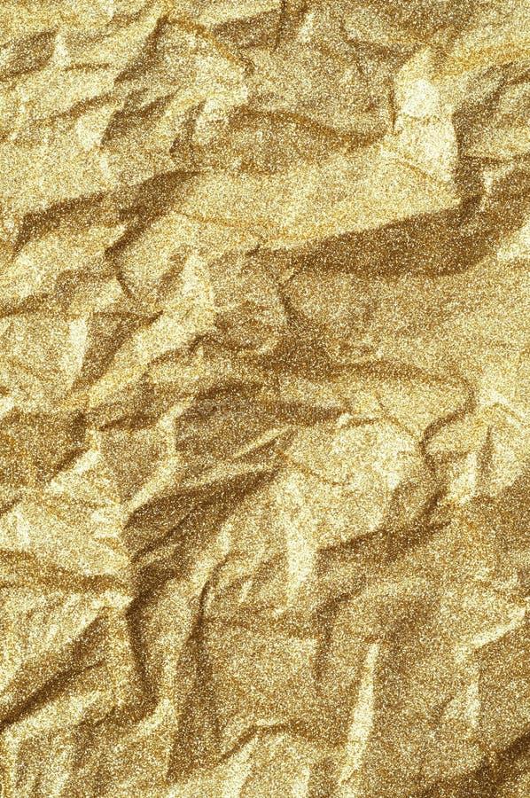 Fondo de papel arrugado oro del extracto de la textura fotos de archivo libres de regalías