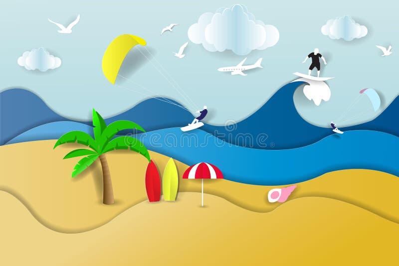 Fondo de papel del arte del papel del verano del arte Acci?n del vector ilustración del vector