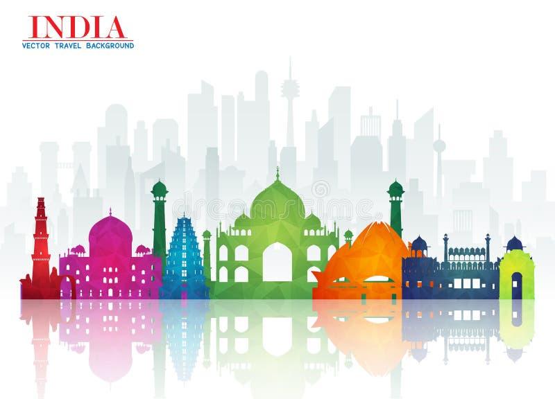Fondo de papel global del viaje y del viaje de la señal de la India Vecto foto de archivo libre de regalías